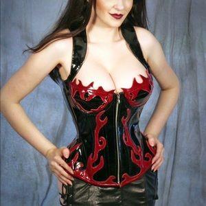 Patent leather steel boned corset fetish cosplay